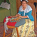Woman Making Lace In Louisbourg Living History Museum-1744-ns by Ruth Hager