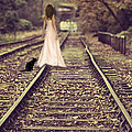 Woman On Railway Line by Amanda Elwell