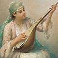 Woman Playing A String Instrument by Fausto Zonaro