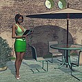 Woman Reading A Menu At A Street Cafe by Michael Wimer