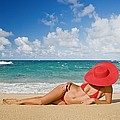 Woman Sitting On The Beach by M Swiet Productions