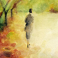 Woman Walking Autumn Landscape Watercolor Painting by Beverly Brown