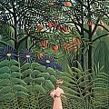 Woman Walking In An Exotic Forest by Henri Rousseau