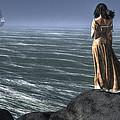 Woman Watching A Ship Sailing Away by Daniel Eskridge
