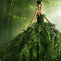 Woman Wearing A Large Green Gown In The by Paper Boat Creative