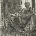 Woman With A Sleeping Child On Her Lap Asleep Near A Window by Bernardus Johannes Blommers