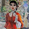 Woman With Parasol In Paris by Karon Melillo DeVega