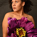 Woman With Purple Flower by Timothy OLeary