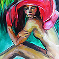 Woman With Red Hat by Nelya Shenklyarska