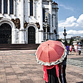 Woman With Umbrella - Moscow - Russia by Madeline Ellis