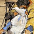 Woman With White Towel - Helene #9 - Figure Series by Mona Edulesco