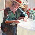 Woman Writing by Sally  Rosenbaum