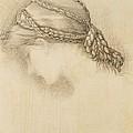 Womans Head, Detail From A Sketchbook by Sir Edward Coley Burne-Jones