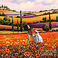 Women Gathering Poppies In Tuscan by Tim Gilliland