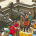 Women Get Bagmati River Holy Water From Ornate Fountains In Patan Durbar Square In Lalitpur-nepal  by Ruth Hager