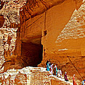 Women Leaving A Storage Place Near The Treasury In Petra-jordan by Ruth Hager