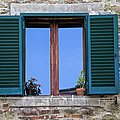 Wood Brown Window With Green Shutters Of Tuscany by David Letts