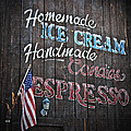 Wood Sign Homemade Ice Cream Candies and Espresso