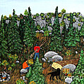 Woodcutters And Black Lab by Barbara Griffin