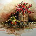 Wooden Barrel With Flowers by Sam Sidders
