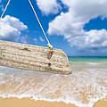 Wooden Beach Sign Algarve Portugal by Amanda Elwell