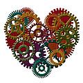 Wooden Gears Forming Heart Shape Illustration by Jit Lim