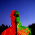 Worker In A Chemical Spillage Suit With A Gas Mask by Martin Bond/science Photo Library