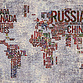 World Map Typography Artwork by Georgeta Blanaru