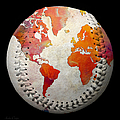 World Map - Rainbow Passion Baseball Square by Andee Design