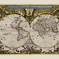World Map 1664 Ad With Small Matching Border by L Brown