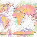 World Map 2 Digital Watercolor Painting by Georgeta Blanaru