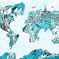 World Map Blue Collage by Bekim Art
