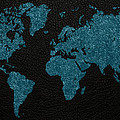 World Map Blue Vintage Fabric On Dark Leather by Design Turnpike