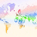 World Map Crumpled Multi-coloured by Hakon Soreide