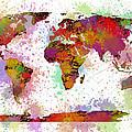 World Map Digital Watercolor Painting by Georgeta Blanaru