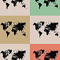 World Map Grid Poster 2 by Naxart Studio