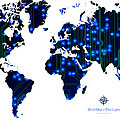 World Map In Blue Lights by Jerry McElroy