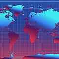 World Map In Blue by Bekim Art