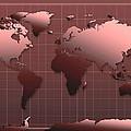 World Map In Dark Red by Bekim Art