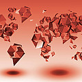 World Map In Geometic Red by Bekim Art