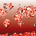 World Map In Geometric Red by Bekim Art
