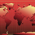 World Map In Red by Bekim Art