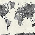 World Map In Watercolor Gray by Pablo Romero