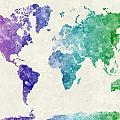 World Map In Watercolor Multicolored by Pablo Romero