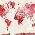 World Map In Watercolor Red by Pablo Romero