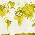 World Map In Watercolor Yellow by Pablo Romero