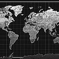 World Map Landmark Black by Bekim Art