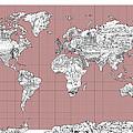 World Map Landmark Collage 2 by Bekim Art