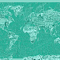 World Map Landmark Collage Green by Bekim Art