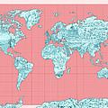 World Map Landmark Collage by Bekim Art